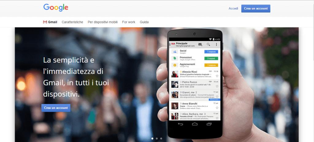 Gmail accedi - crea un account