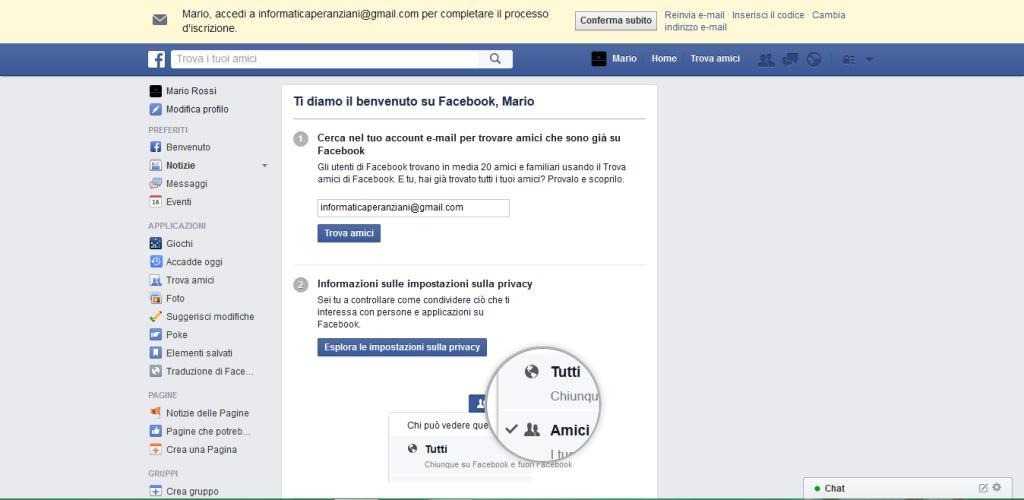 Facebook conferma indirizzo email
