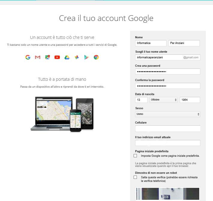 Gmail modulo iscrizione