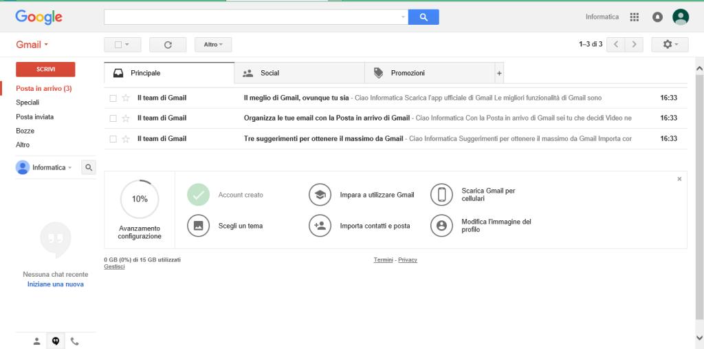 Gmail pagina iniziale