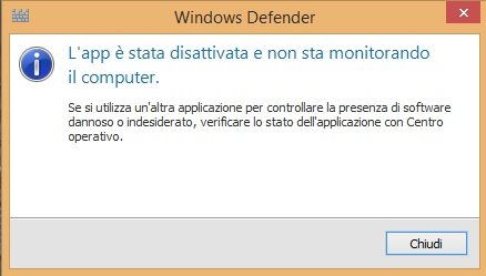 impossibile attivare Windows Defender