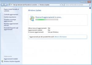 windows 7 ricerca aggiornamenti in corso