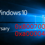 Windows 10 Anniversary Update; errore 0x80070057 o 0xa0000400 durante l'aggiornamento