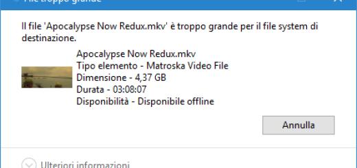 Errore File troppo grande per essere copiato su chiavetta USB