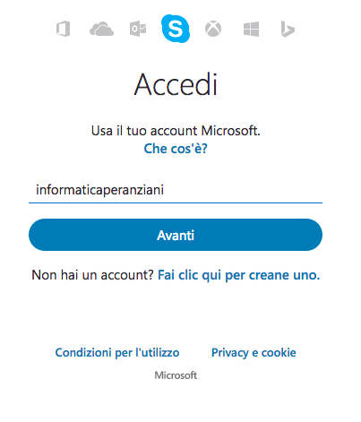 Accedere a Skype online