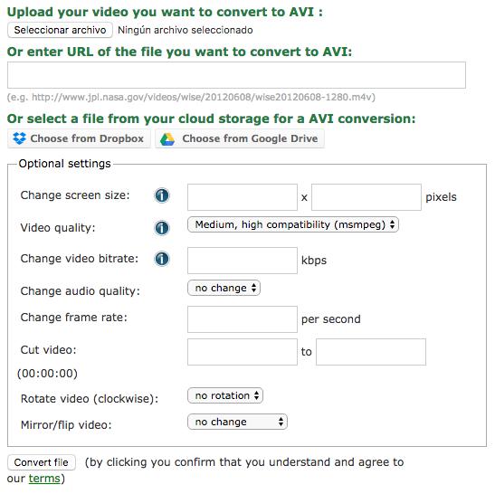 Screenshot Conversione AVI