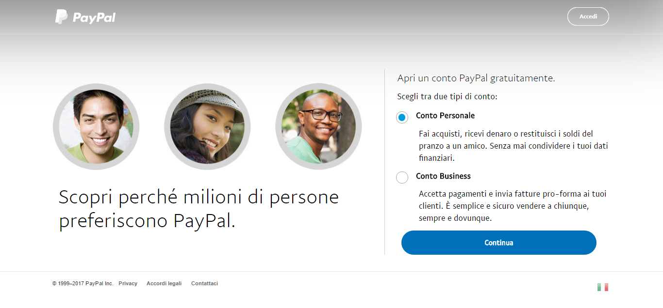 paypal select account