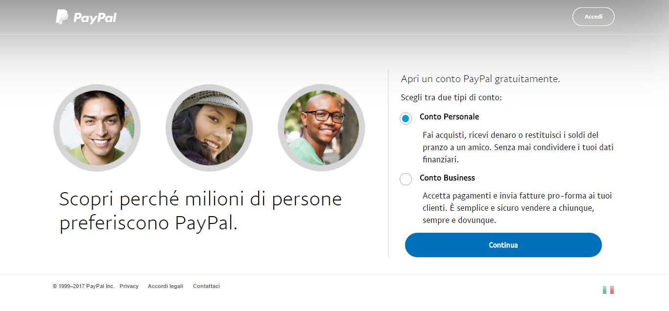 paypal select account