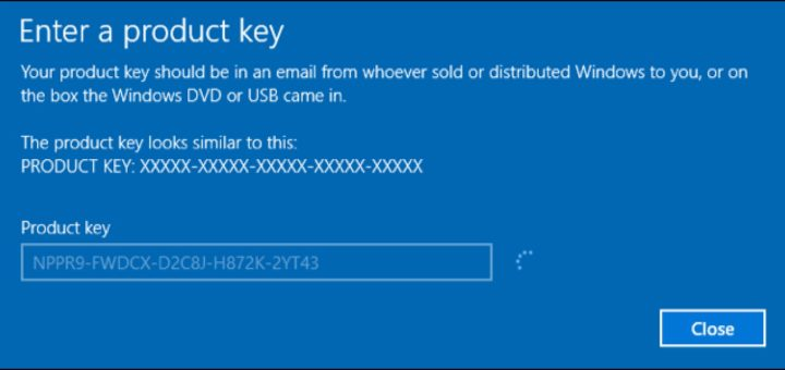 schermata inserimento product key windows