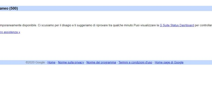 Gmail errore temporaneo