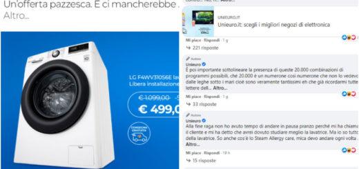 unieuro lavatrice sconto post facebook